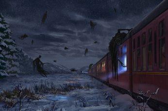Wallpaper Fantasy, Art, Hogwarts Express, Harry Potter