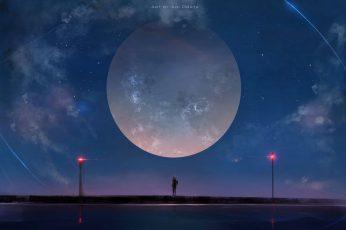 Full Moon Digital Wallpaper, Aoi Ogata
