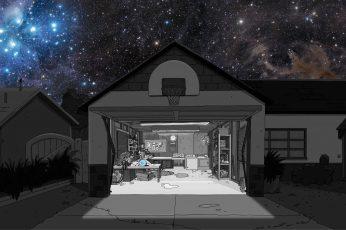 Wallpaper Garage Illustration, Rick And Morty, Unity