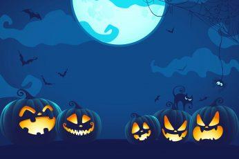 Wallpaper Halloween, Cartoon, Nigh, Darkness, Blue, Bats