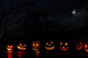 Wallpaper Halloween Jacks, Pumpkin, Jack O Lantern, Moon
