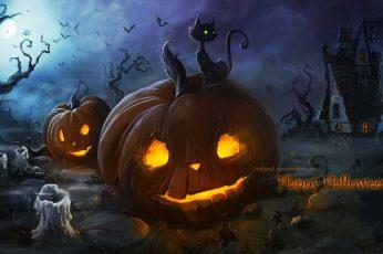 Wallpaper Halloween, Pumpkin, Fantasy Art, Glowing Eyes