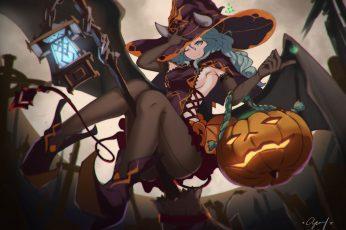 Wallpaper Halloween, Pumpkin, Lighter, Demon Girls, Witch