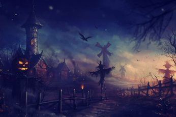 Halloween Wallpaper, Scarecrows, Pumpkin, Jack O
