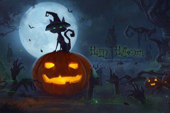 Happy Haloween Digital Wallpape, Halloween, Pumpkin