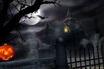 Wallpaper Haunted Halloween House, Lights, Full Moon, Jack