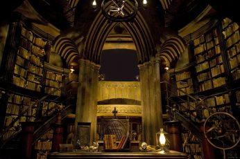 Wallpaper Hogwarts, Library, Castle Inside