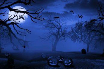 Wallpaper Holiday, Halloween, Bat, Blue, Graveyard, Jack O