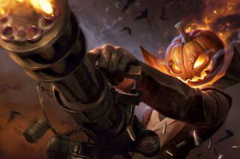 Wallpaper Holiday, Halloween, Jack O Lantern, Minigun