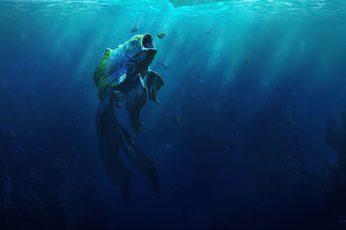 Wallpaper Illustration Of Fish Under Water, Sea, Goldfish
