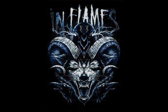 Wallpaper In Flames Logo, Wolf, Raven, Jesterhead, Metal