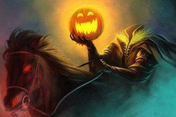 Wallpaper Jack O Lantern Illustration, Halloween, Horse