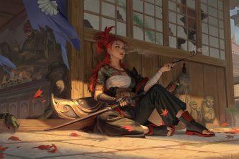 Wallpaper Japanese, Samurai, Women, Bandage, Smoking, Katana