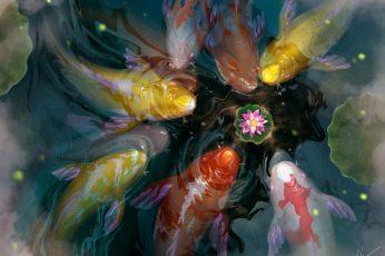 Wallpaper Koi, Art, Lotus, Luminos, Orange, Fish, Yellow