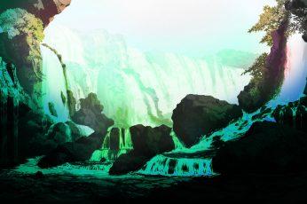 Wallpaper Landscape, Waterfall, Bit, 8 Bit, Rock, Beauty