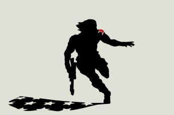 Wallpaper Man Holding Gun Illustration, Captain America