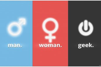 Wallpaper Man, Woman, Geek Text With Blue, Red, And Black