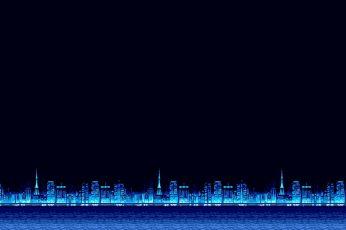 Wallpaper Minimalism, Blue, The City, Background, Pixels