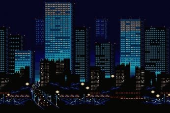 Wallpaper Night, The City, Building, Pixels, 8bit, 8 Bit
