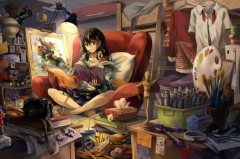 Wallpaper Painting, Anime Girls, Room, Original Characters