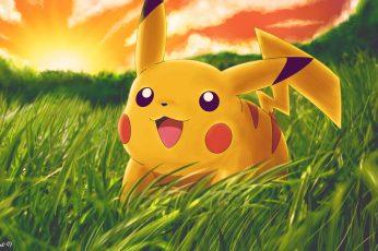 Wallpaper Pikachu Pokemon Grass Hd, Pikachu Pokemon