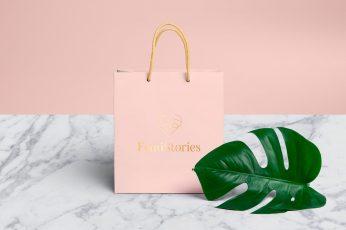 Wallpaper Pink Shopping Bag, Tropical Monstera Leaf