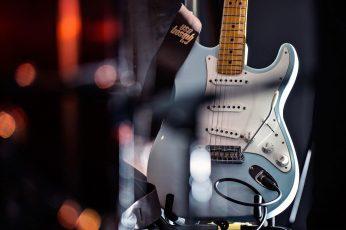 Wallpaper Play, Fender Stratocaster, Blue Guitar, Music