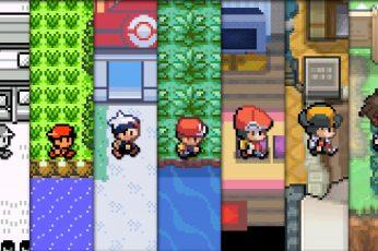Wallpaper Pokemon Game Evolution Collage, Pokemon Game