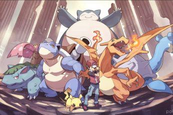 Wallpaper Pokemon Poster, Pokémon, Charizard, Red, Lapras