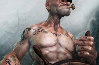 Wallpaper Popeye Digital Art, Sailors, Realistic, Smoke