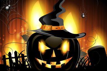 Wallpaper Pumpkin Illustration, Halloween, Spider, Artwork
