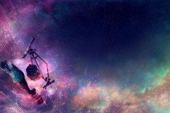 Purple And Blue Starry Sky Digital Wallpaper