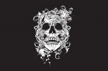 Wallpaper Scull, Decor, Tatto, Black