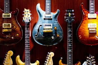 Wallpaper Several Assorted Color Electric Guitars, Colorful