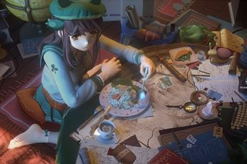 Wallpaper T5, Anime Girls, Room, Food, Interior, Socks