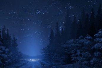Wallpaper Trees Illustration, Road, Stars, Night, Fox