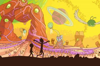 Wallpaper Two Cartoon Rick and Morty