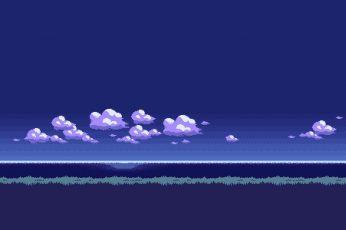Wallpaper White Clouds Illustration, Pixel Art, 8 Bit