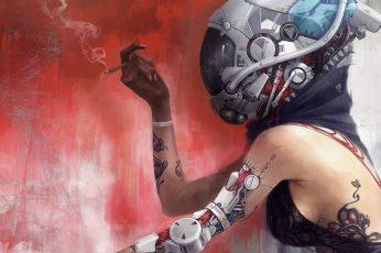 Wallpaper Woman Wearing Grey Helmet Illustration, Woman