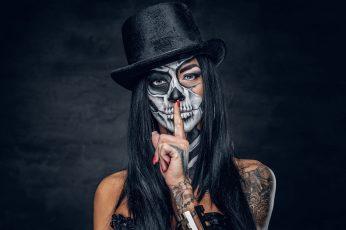 Wallpaper Women, Tattoo, Dia De Los Muertos, Makeup, Model