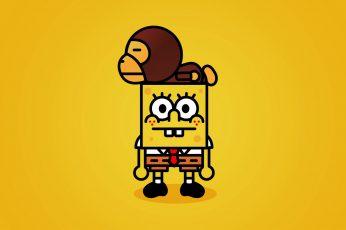 Wallpaper Yellow, Bape, Spongebob