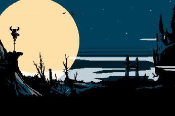 Wallpaper Yellow Moon At Night Painting, Digital Art, Pixel