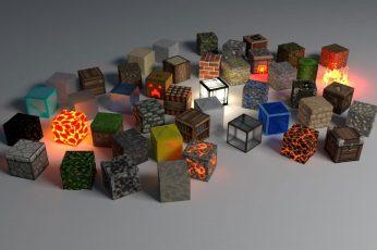 Wallpaper Assorted Color Cube Ornaments, Minecraft