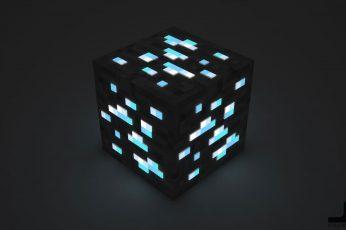 Wallpaper Black Cube, Minecraft, Video Games, Illuminated