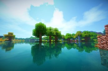 Wallpaper Body Of Water, Minecraft, Shaders, Reflection