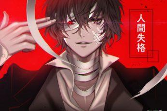 Wallpaper Dazai Osamu, Bungou Stray Dogs, Red Eye, Bandage