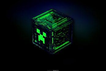 Wallpaper Green Cube Illustration, Minecraft, Creeper