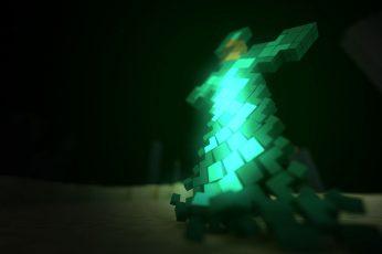 Wallpaper Green Minecraft Cross Lamp, Green Cross Lighted