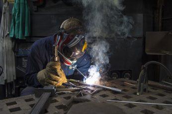 Wallpaper Man Wearing Mask Welding Gray Tool, Construction