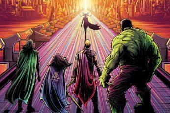 Wallpaper Marvel, Comics, Hela, Hulk, Loki, Ragnarok